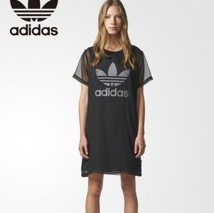 Adidas Mesh Overlay T-Shirt Dress Size Small